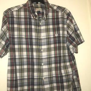Men's chaps plaid short sleeve button down  XL
